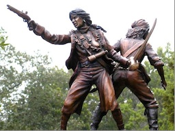 Monument à Anne Bonny et Mary Read, bronze, Nassau.